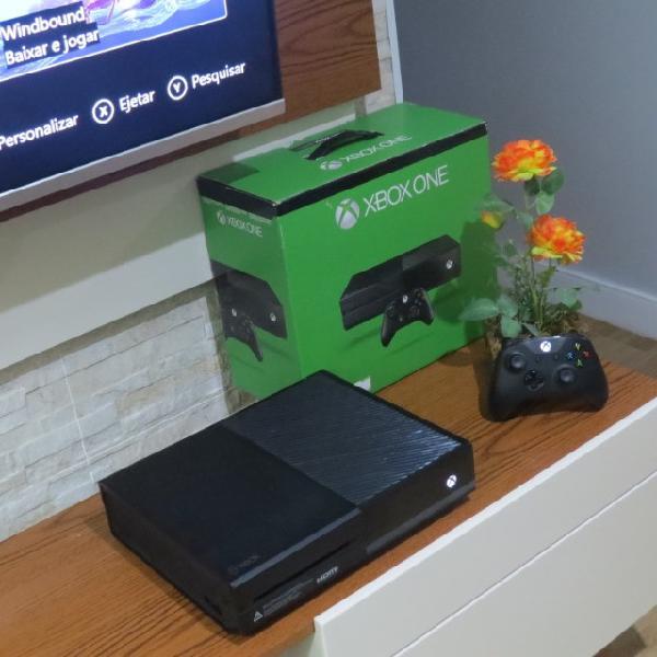 Xbox one fat 500gb preto com 01 controle do s/x (aceitamos