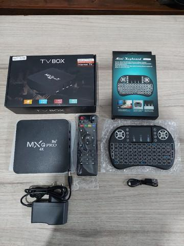 Tv box mxq pro 5 ghz 8/128 gb mini teclado led novo