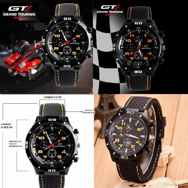 Novo relógio de silicone pulseira unissex militar gt grand