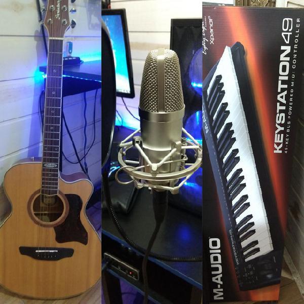 Violão + controlador/teclado+ mic. profissional + placa de