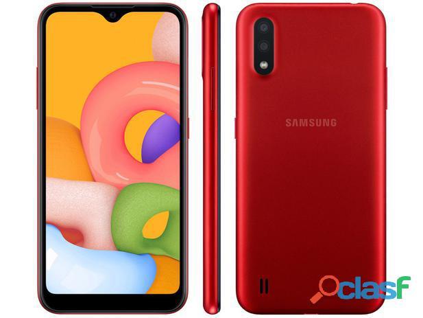 """Smartphone samsung galaxy a01 32gb vermelho   2gb ram tela 5,7"""" câm. dupla + câm. selfie 5mp"""