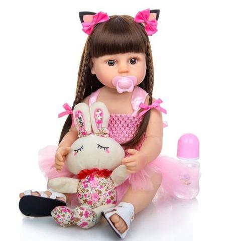 Boneca reborn realista cabelo comprido