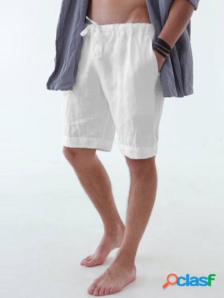 Calções de lazer masculinos para casa cor sólida de algodão linho praia calções de tabuleiro