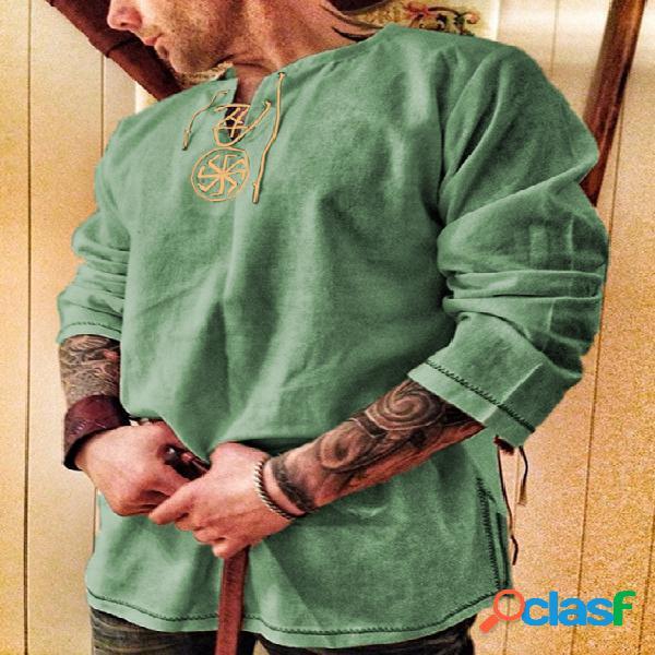 Camiseta masculina retro com decote em v com nó de manga comprida soft bordado
