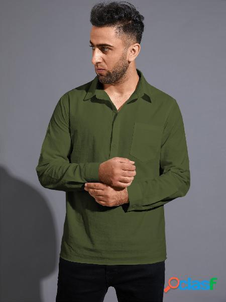 Homem outono casual simples botão frente único bolso camisa