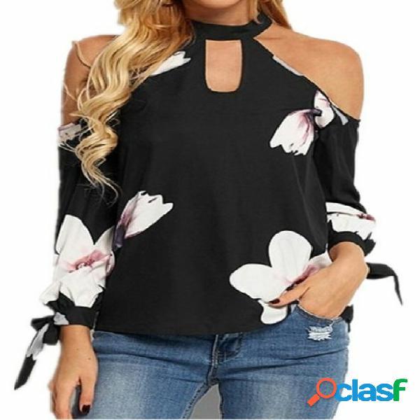 Blusa de mangas compridas com estampa floral preta aleatória com nó