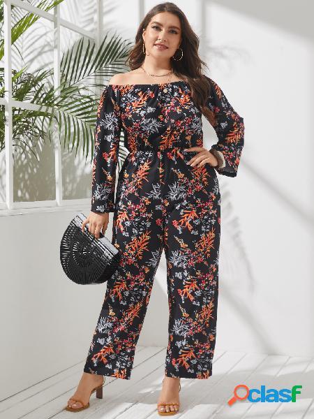 Plus macacão tamanho off the shoulder estampado floral com alça elástica de mangas compridas