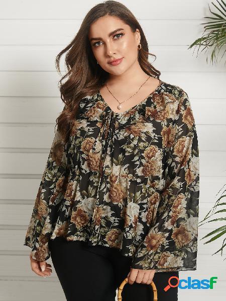 Plus blusa de manga comprida com decote em v estampado floral estampado elástico design