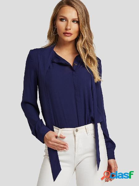 Blusa da moda de manga comprida azul marinho com decote em v