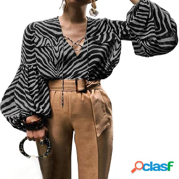 Celmia zebra blusa de manga comprida com cordão design com decote em v