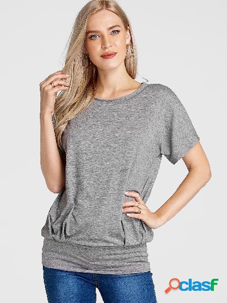 Camiseta cinza decote redondo manga curta elástica cintura