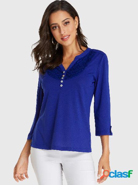 Yoins camiseta de manga comprida com decote em v azul