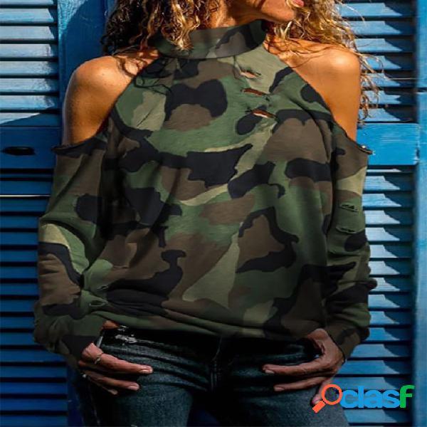 Camiseta de manga comprida militar verde camo cold shoulder com gola alta