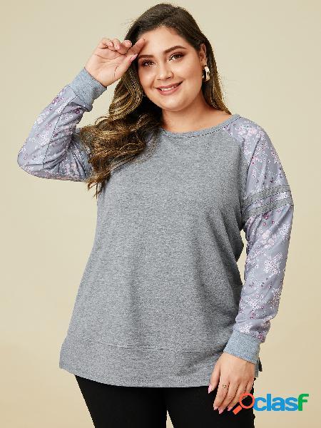 Yoins plus tamanho patchwork mangas compridas estampa floral camiseta
