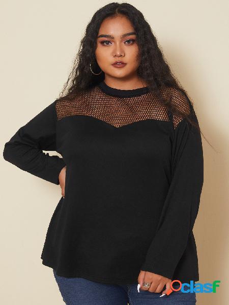 Yoins plus blusa de mangas compridas em patchwork tamanho pescoço