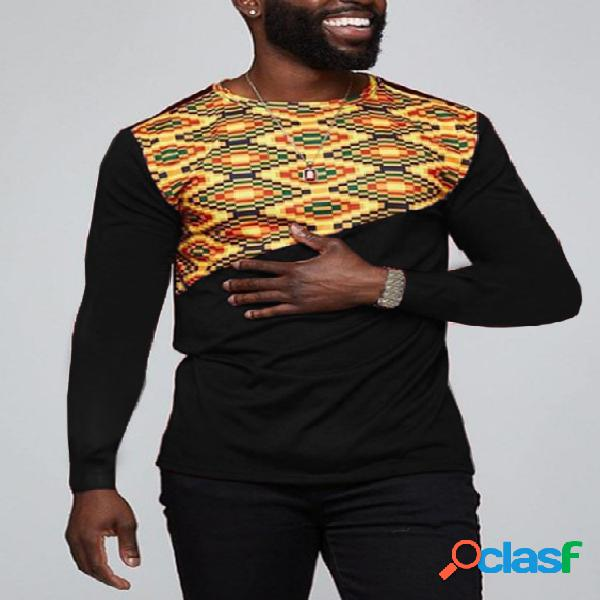 Camiseta masculina casual outono tribal patchwork de manga comprida