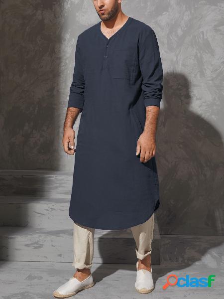 Homem casual com decote em v liso bolso midi com botão frontal camisa