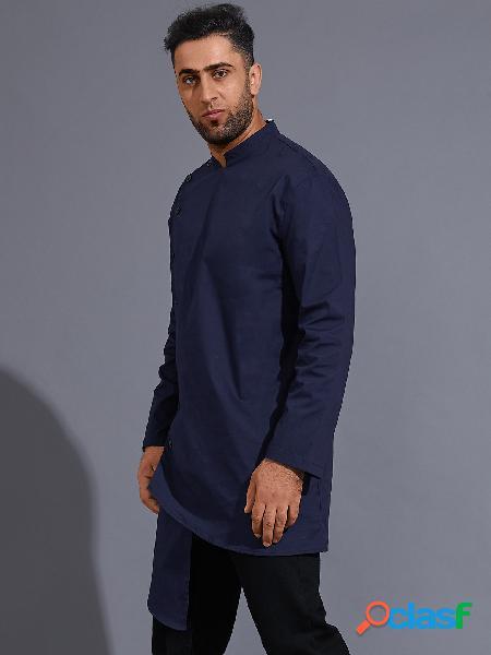 Masculino fall estilo médio oriente colarinho simples botão frente camisa