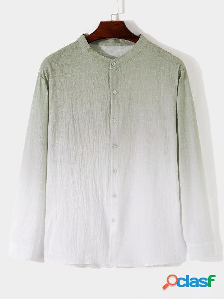 Masculino fall stand gola gradiente manga longa moda casual camisa