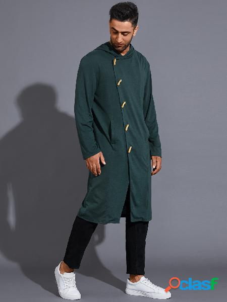 Homem casual com capuz com botão liso bolso frontal midi comprimento moletom para o dia das bruxas