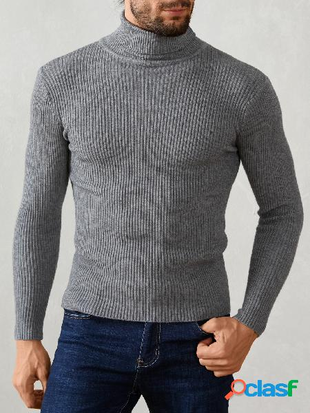 Suéter casual masculino de gola alta manga comprida malha skinny