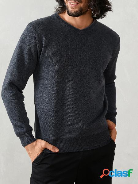 Suéter masculino casual com decote em v manga comprida malha skinny