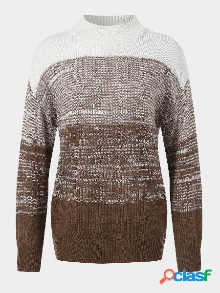 Suéter casual patchwork de mangas compridas com gola alta