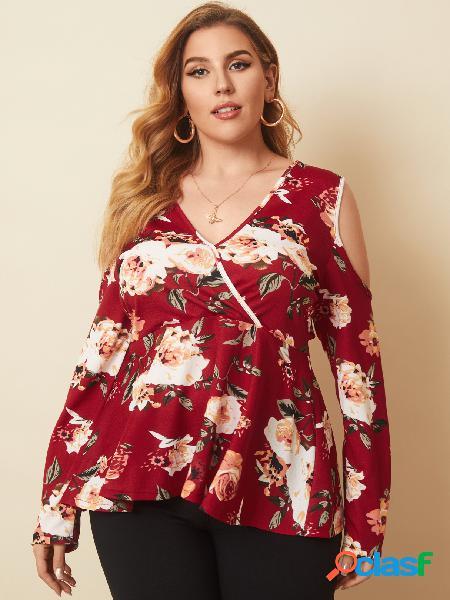Blusa de manga comprida tamanho plus envoltório floral ombro frio design