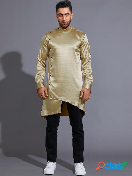 Moda casual masculina outono colarinho liso botão frontal midi camisa