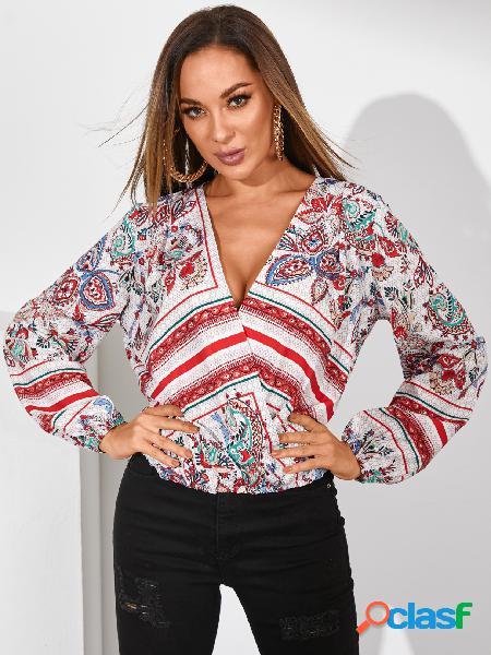 Yoins blusa de mangas compridas envoltório estampado paisley aleatório com decote em v
