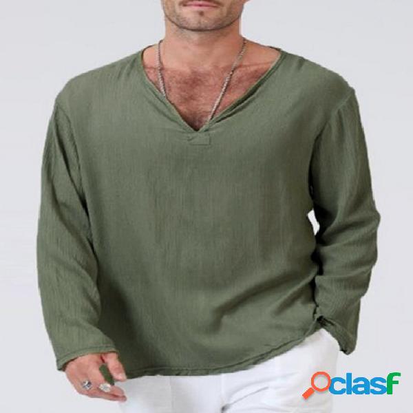 T-shirt casual masculina soft com decote em v simples de manga comprida