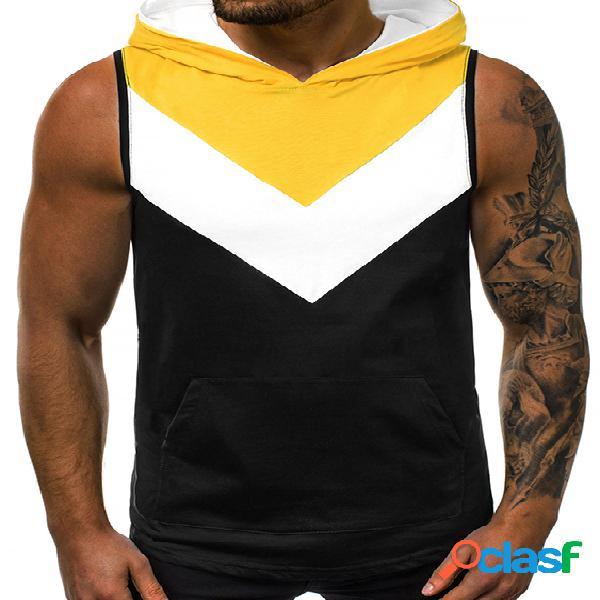 Masculino verão casual algodão soft cor bloco com capuz tanque