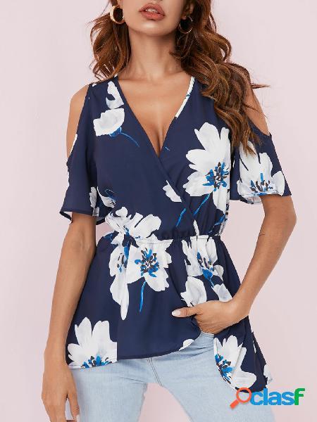 Yoins blusa de mangas curtas recortada marinha aleatória estampa floral envolvente