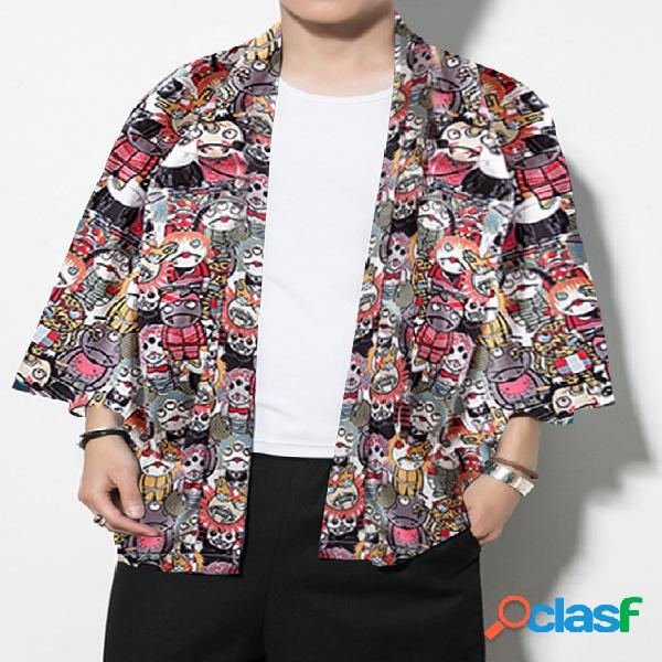 Masculino casual solto fit all over print cartoon quimono protetor solar cardigã