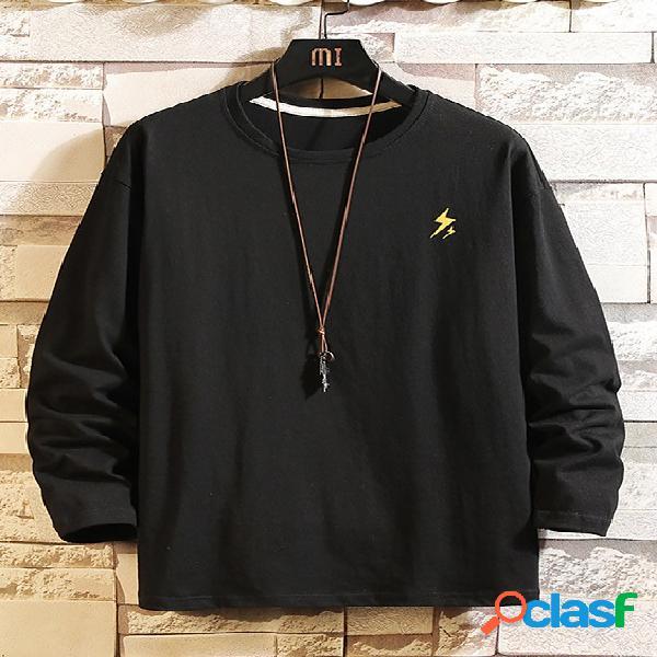 Camiseta masculina casual cor sólida solta e confortável