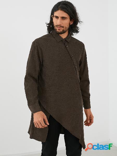 Homens casual médio comprimento cor sólida irregular camisa