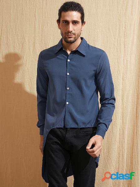 Camisa casual masculina de bainha irregular em cor sólida
