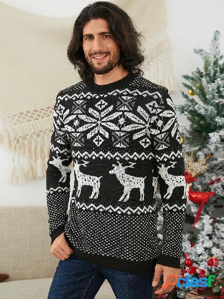 Camisola de malha masculina inverno natal com estampa de cervo preta redonda decote