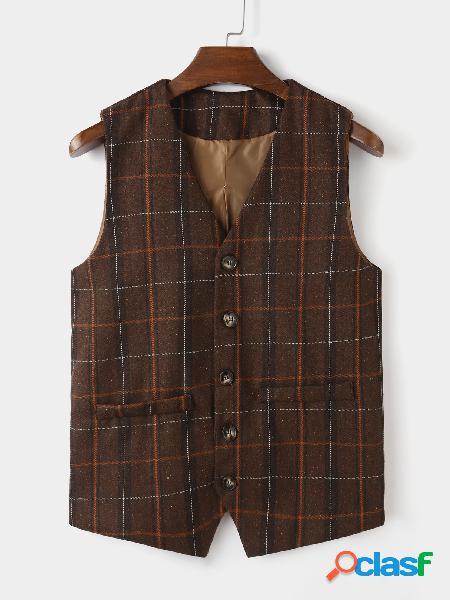 Casaco masculino casual retro decote em v mangas com estampa xadrez coletes
