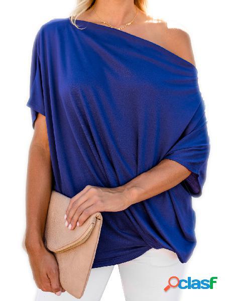 Camiseta de manga comprida azul tamanho maior one