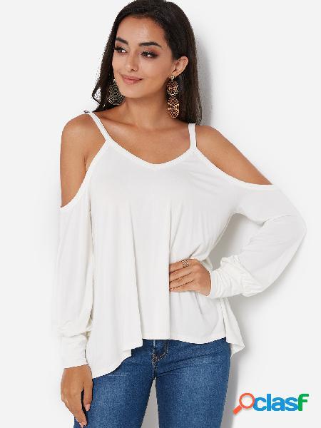 Camisetas brancas de manga comprida de manga comprida com bainha fria irregular branca