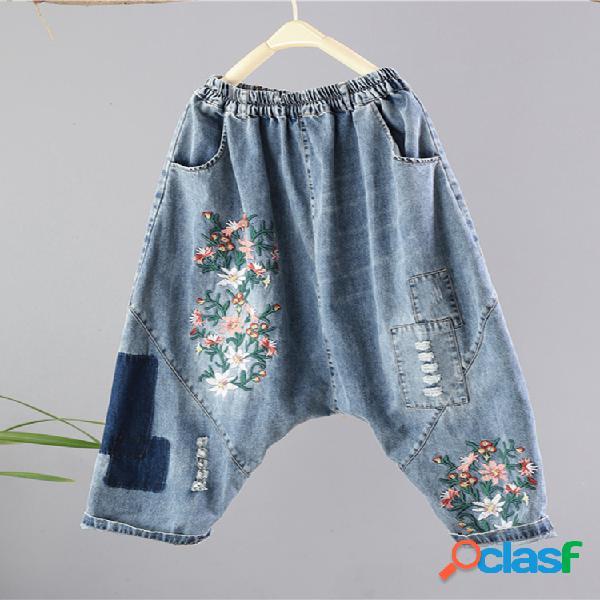 Patchwork bordado floral vintage jeans