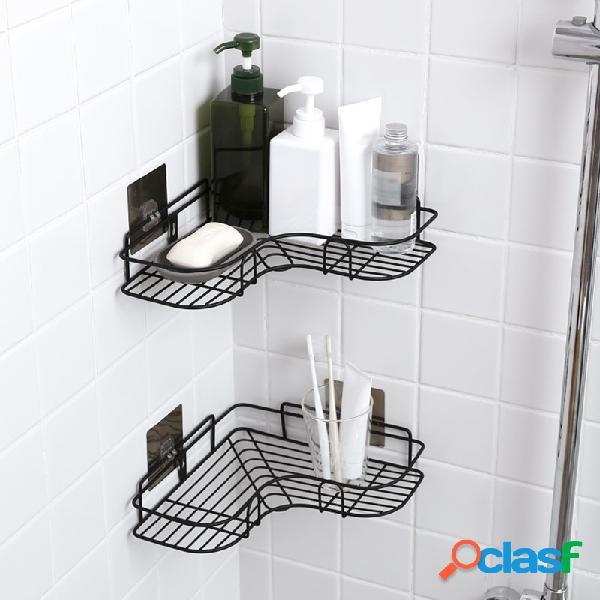 Preto / branco nordic simples punch-free rack de armazenamento de ferro forjado banheiro organizador da cozinha