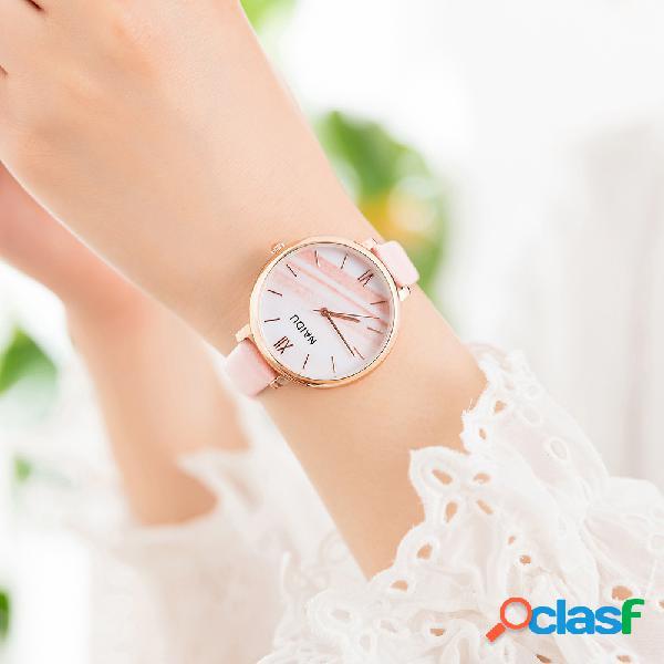 Relógio de quartzo de relógio de cintura de couro de relógio de quartzo de mulheres de moda na moda simples pu relógio