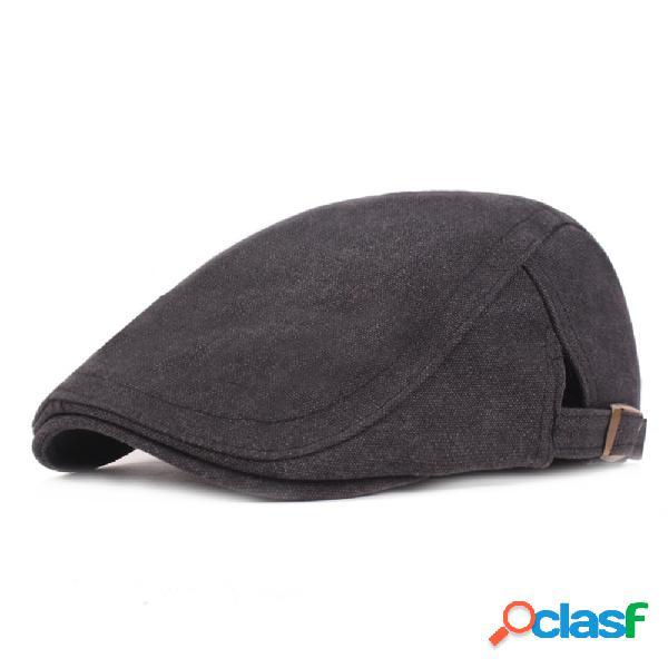 Berço de algodão lavado xadrez retro chapéu ajustável jornal chapéu