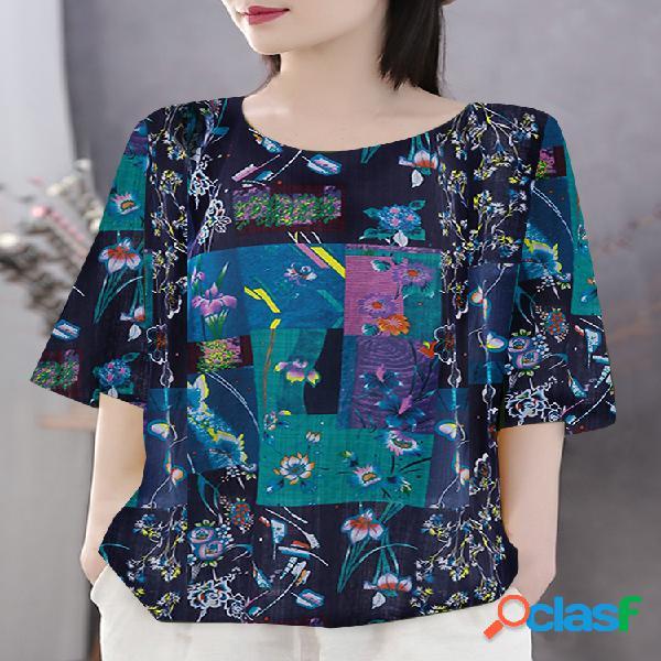 Camiseta estampa boêmio meia manga plus tamanho floral