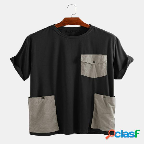 Camiseta masculina solta casual de manga curta decorada com bolsos grandes