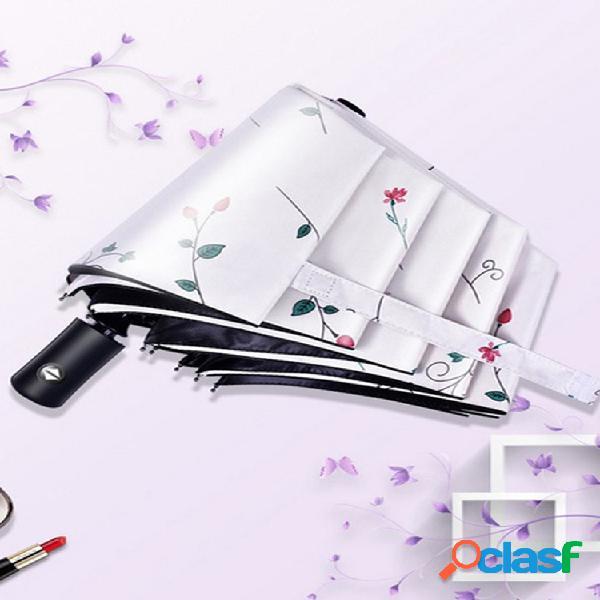 Guarda-chuva anti-uv automático pequeno guarda-chuva feminino três dobrável de dupla utilização protetor solar de plástico preto ultraleve