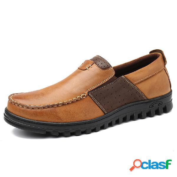 Menico mocassim comfy toe couro splicing soft calçados casuais