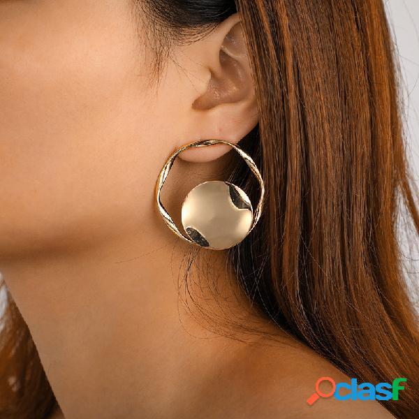 Na moda exagerada irregular brincos geométrica disco orelha gota da liga do vintage do parafuso brincos